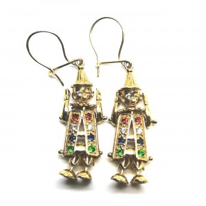 9ct Stone Set Clown Earrings