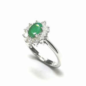 Classic Emerald and Diamond Cluster
