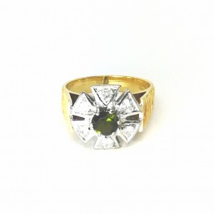 18ct Gold Green Tourmaline And Diamond Cluster Ring